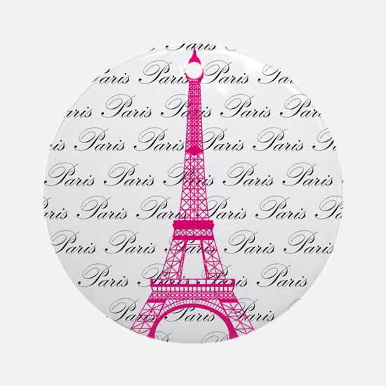 Pink and Black Paris Ornament (Round)