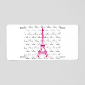 Pink and Black Paris Aluminum License Plate