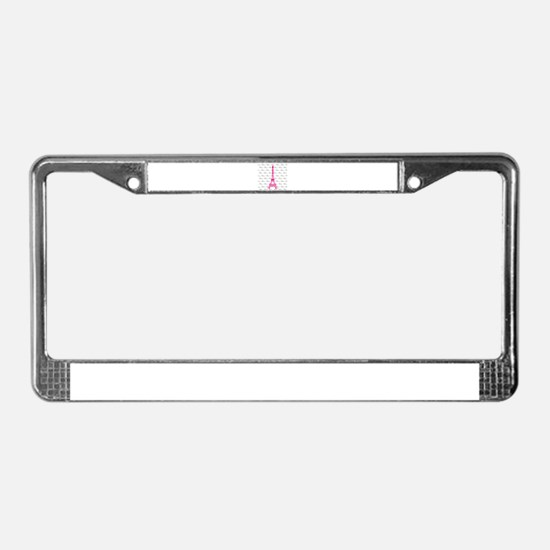 Pink and Black Paris License Plate Frame