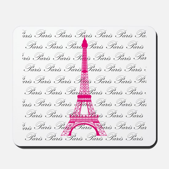 Pink and Black Paris Mousepad