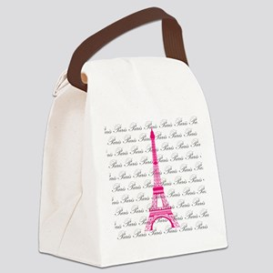Pink and Black Paris Canvas Lunch Bag