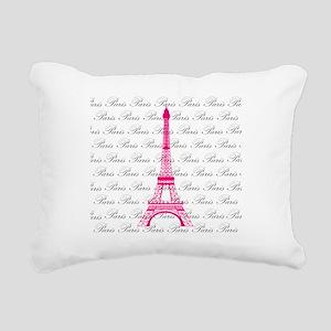 Pink and Black Paris Rectangular Canvas Pillow