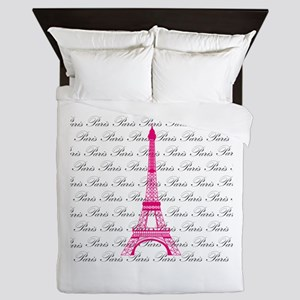 Pink and Black Paris Queen Duvet