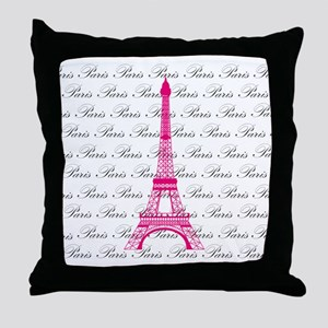 Pink and Black Paris Throw Pillow
