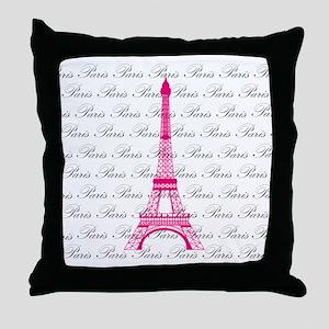 Pink and Black Paris Throw Pillow