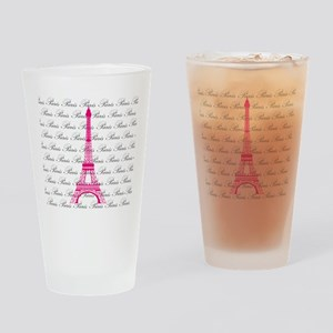Pink and Black Paris Drinking Glass