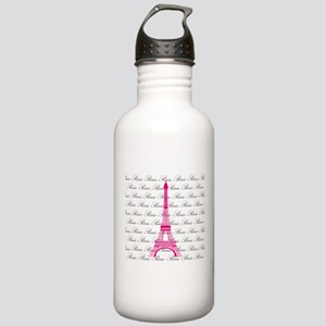 Pink and Black Paris Water Bottle