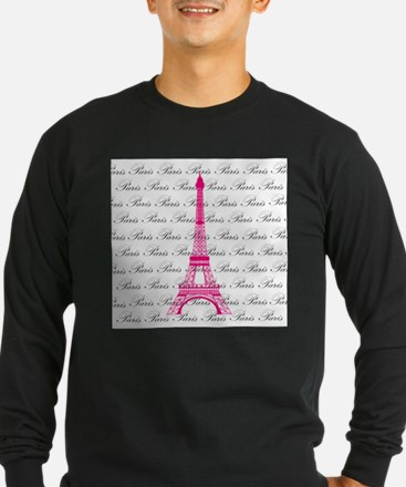 Pink and Black Paris Long Sleeve T-Shirt
