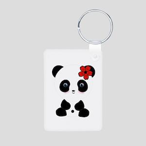 Red Flower Panda Keychains
