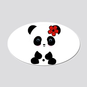 Red Flower Panda Wall Decal