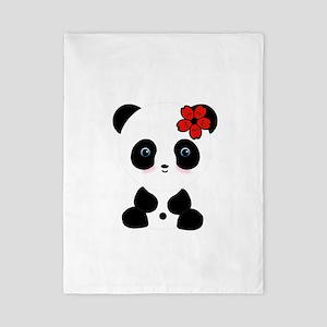 Red Flower Panda Twin Duvet