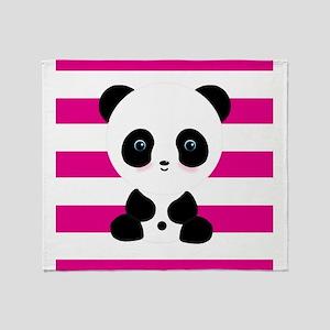 Panda on Pink Stripes Throw Blanket