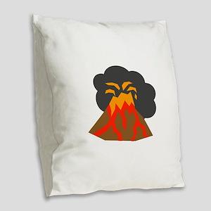 Erupting Volcano Burlap Throw Pillow