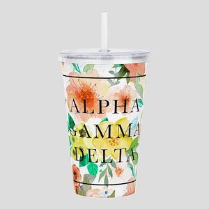 Alpha Gamma Delta Flor Acrylic Double-wall Tumbler