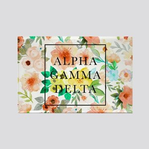 Alpha Gamma Delta Floral Rectangle Magnet