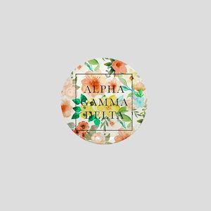Alpha Gamma Delta Floral Mini Button