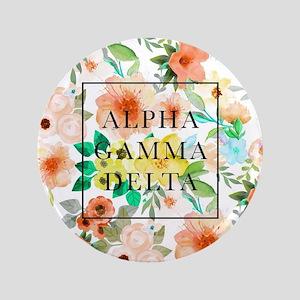 "Alpha Gamma Delta Floral 3.5"" Button"