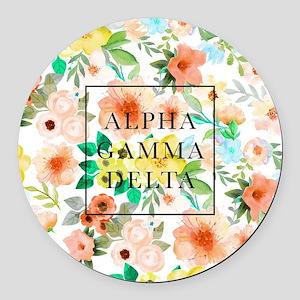 Alpha Gamma Delta Floral Round Car Magnet