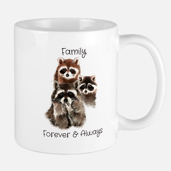 Family Forever Always Quote Watercolor Raccoon An