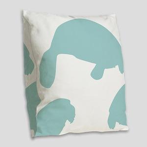 Manatee Shadow Burlap Throw Pillow