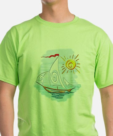 Tribal Tattoo Sailboat with Ocean and Sun T-Shirt