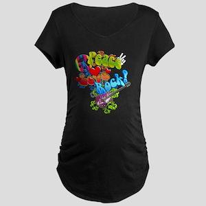 Peace Love Rock Maternity Dark T-Shirt
