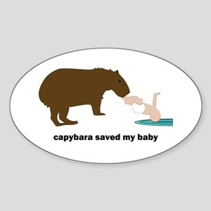 Capybara Hero Oval Sticker