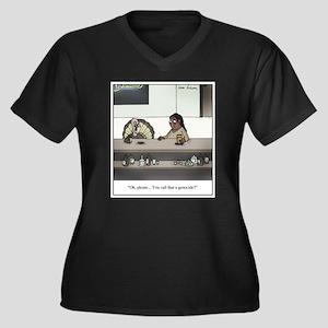 Turkey Genoc Women's Plus Size V-Neck Dark T-Shirt