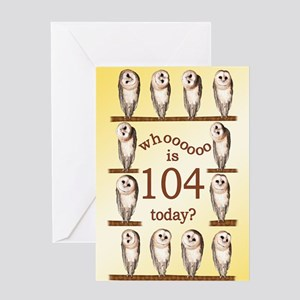 104th birthday with curious owls. Greeting Cards