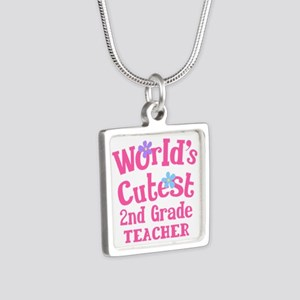 2nd Grade Teacher Silver Square Necklace
