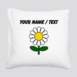 Custom Daisy Flower Square Canvas Pillow