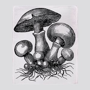 Vintage Mushrooms Illustration Throw Blanket