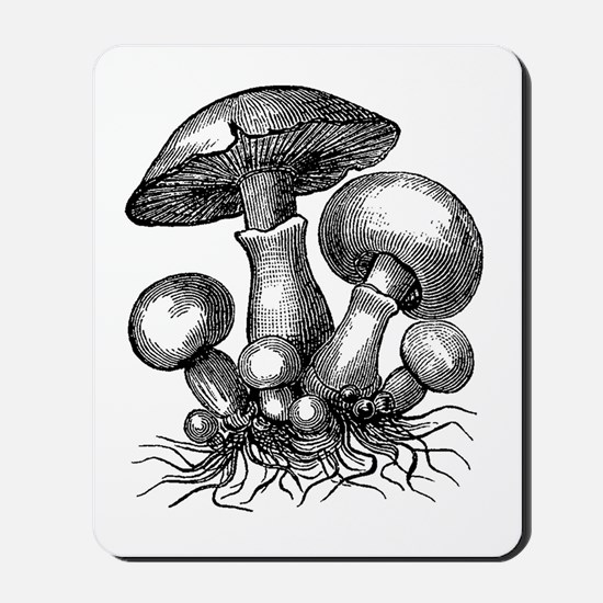 Vintage Mushrooms Illustration Mousepad