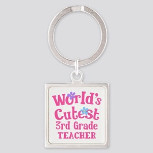 3rd Grade Teacher Square Keychain