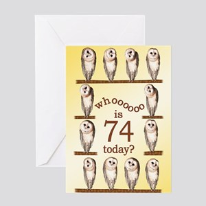 74th birthday with curious owls. Greeting Cards
