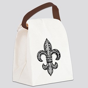 Vintage Fleur De Lis Canvas Lunch Bag