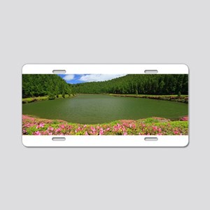 Lake and azaleas Aluminum License Plate