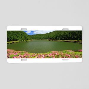 Lake and azaleas Aluminum License Plate