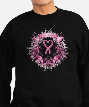 Breast Cancer Survivor Ribbon Sweatshirt (dark)