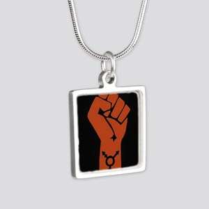 Transgender Solidarity Silver Square Necklace