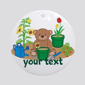 Personalized Garden Teddy Bear Ornament (Round)