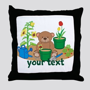 Personalized Garden Teddy Bear Throw Pillow