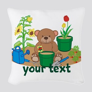 Personalized Garden Teddy Bear Woven Throw Pillow