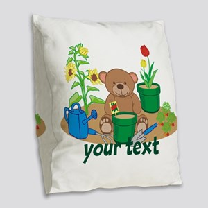 Personalized Garden Teddy Bear Burlap Throw Pillow