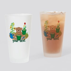 Personalized Garden Teddy Bear Drinking Glass