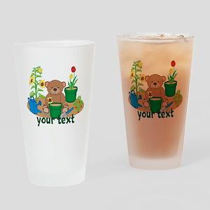 Personalized Garden Teddy Bear Drinking Glass