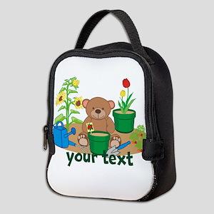 Personalized Garden Teddy Bear Neoprene Lunch Bag
