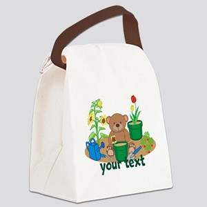 Personalized Garden Teddy Bear Canvas Lunch Bag