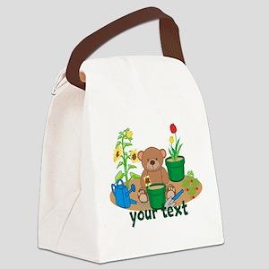 Personalized Garden Teddy Bear Canvas Lunch Bag