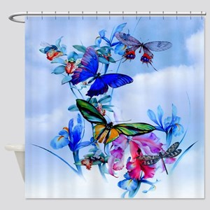 Take Flight! Butterfly Orchid Art Shower Curtain